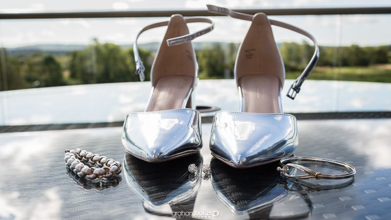 Bridal Jewellery and silver mirrored bridal wedding shoes
