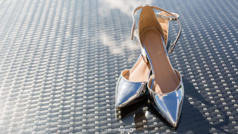 Silver mirrored bridal wedding shoes