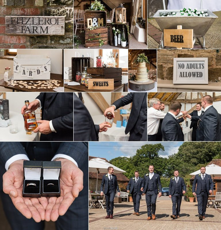 Wedding Details and Groom waiting at Fitzleroi Barn - Sussex Wedding Venue