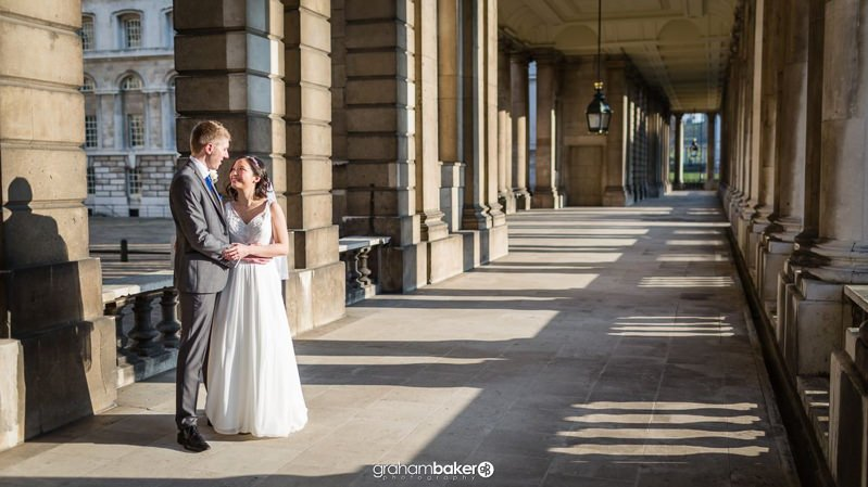 Bride & Groom Portraits at The Old Royal Naval College Greenwich | Wedding Venue London