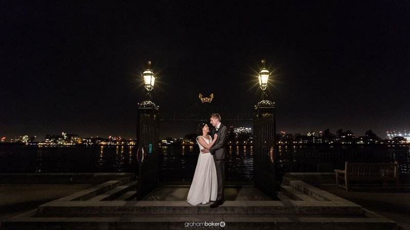 The Water Gate at The Old Royal Naval College Greenwich | River Thames at Night | London Wedding Photogtapher