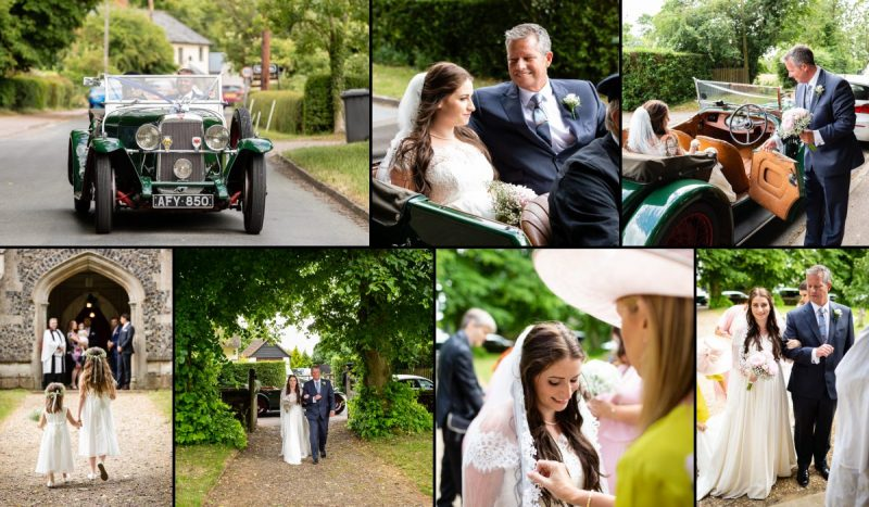Bride arriving at All Saints Church Lawshall Bury St Edmunds Suffolk