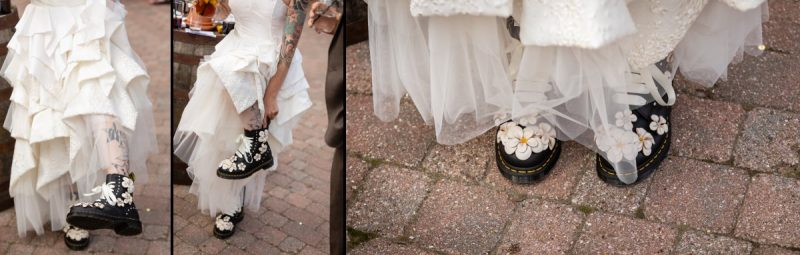Custom made Dr Martens Boots for the bride on her wedding day