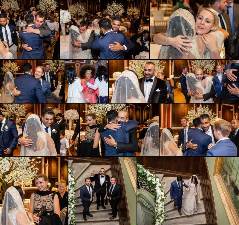 Dulwich College library London wedding couple portraits