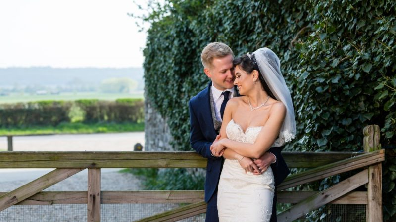 Bride and Groom Portraits at Cooling Castle Barn Kent Wedding Venue   By Graham Baker Photography