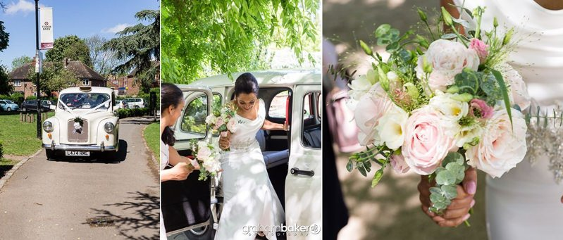 Bride arriving at Tudor Barn Eltham in a white taxi for her wedding