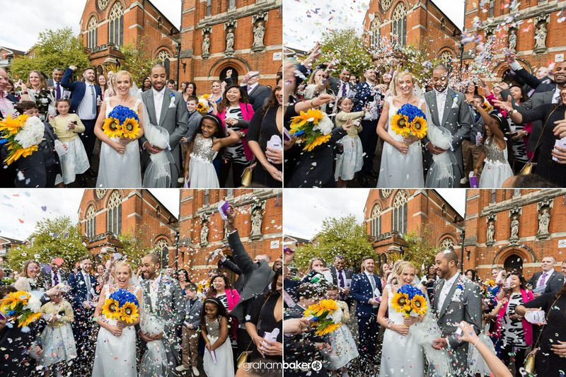 Wedding at St Peter's Church Staines   Confetti throwing after the wedding ceremony