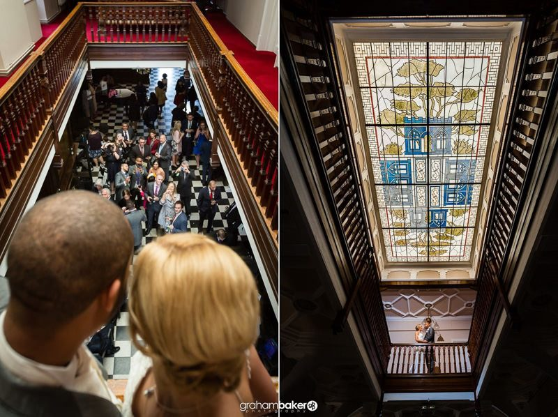 Wedding Photography of the indoor balcony and stained glass ceiling at Littleton Park House Shepperton Studios
