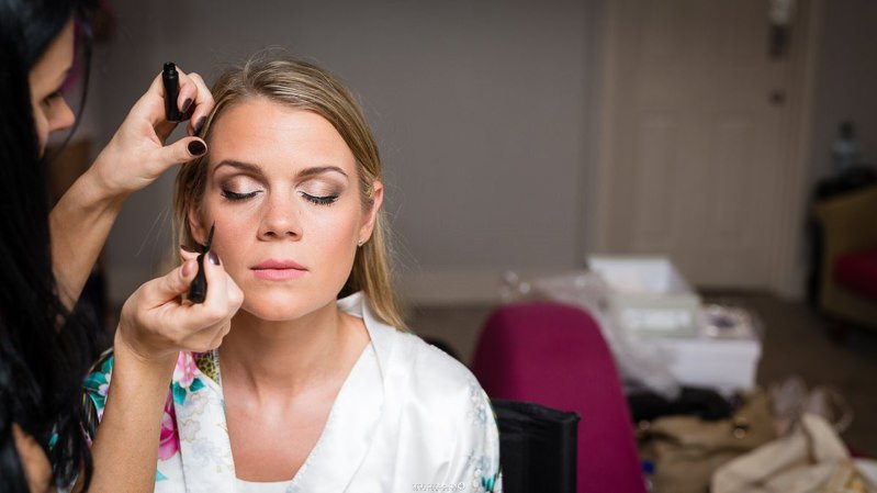 Bridal Hair and makeup preparations for a beautiful bride and her Kent wedding