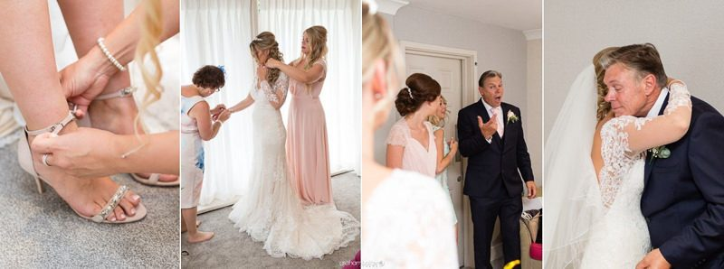 Bride in her wedding dress and father of the brides first look at a beautiful summer wedding day in Kent