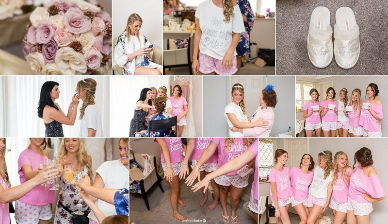 Bride and bridesmaid preparations for a beautiful bride on her summer wedding day in Kent