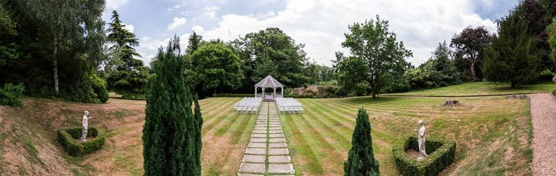 Wide angle view of the exclusive wedding gazebo at Rowhill Grange