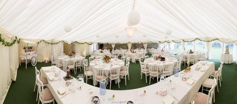 Wedding Reception Marquee at St Augustines Priory Bilsington Kent Wedding Venue