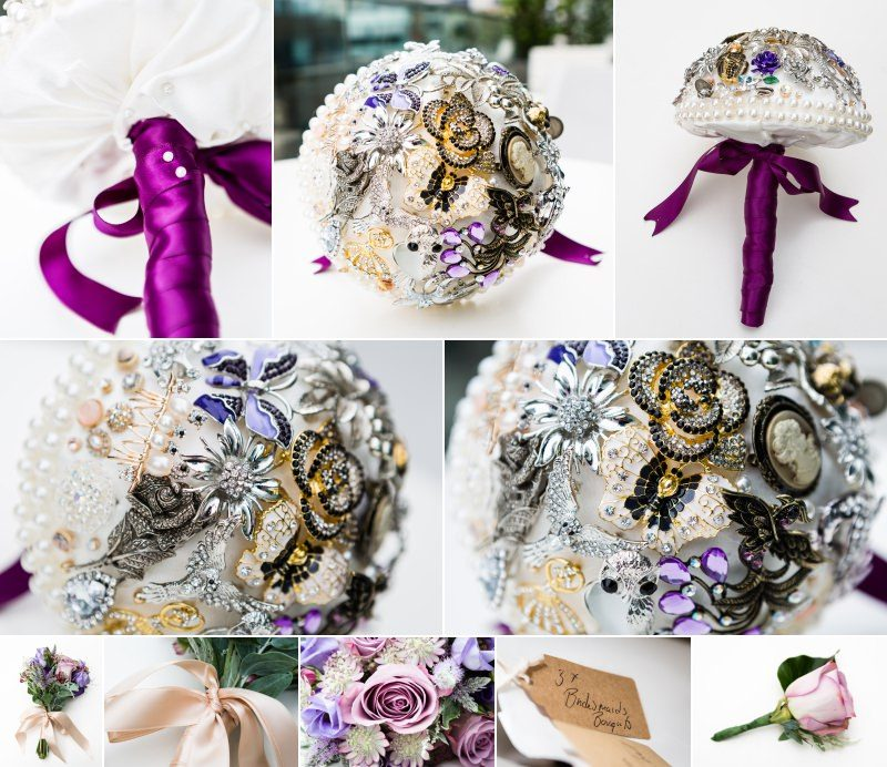 Homemade Brooch Bouquet and Bridesmaids Flowers