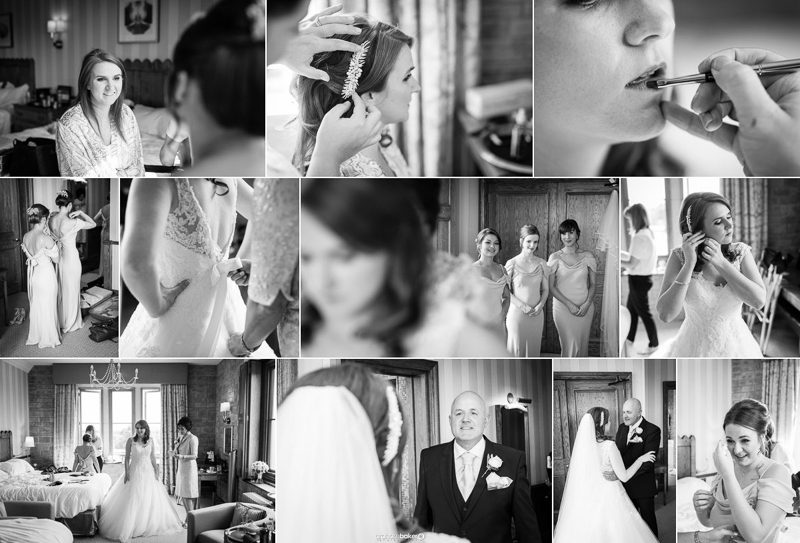 Bride and her bridesmaids getting ready for her wedding day in Sussex