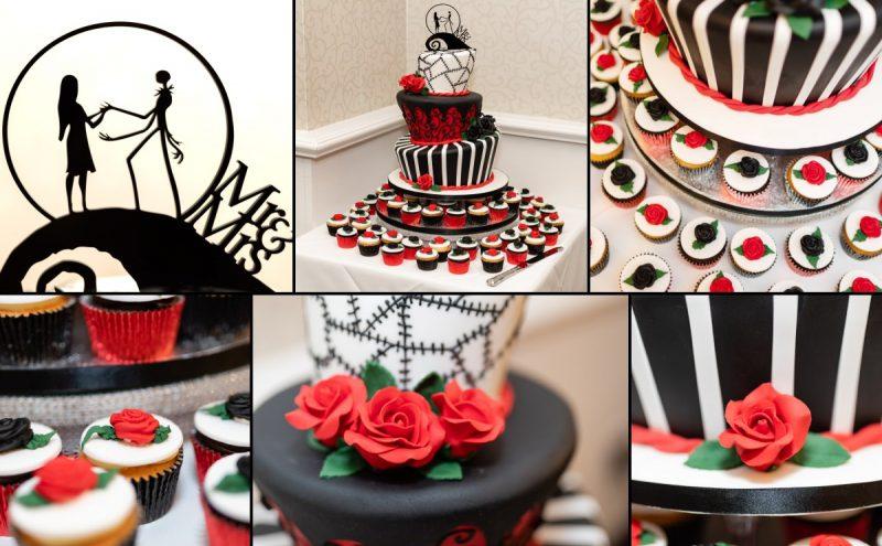 Tim Burton Inspired Wedding cake by Shelley's Cakes at Rowhill Grange Kent