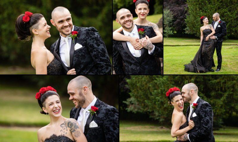 Ultra cool and alternative wedding couple Portraits | Black Wedding Dress | Tattooed Bride and Groom