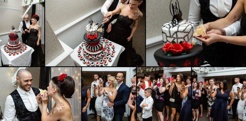 Tim Burton Themed Wedding Cake at Rowhill Grange Kent