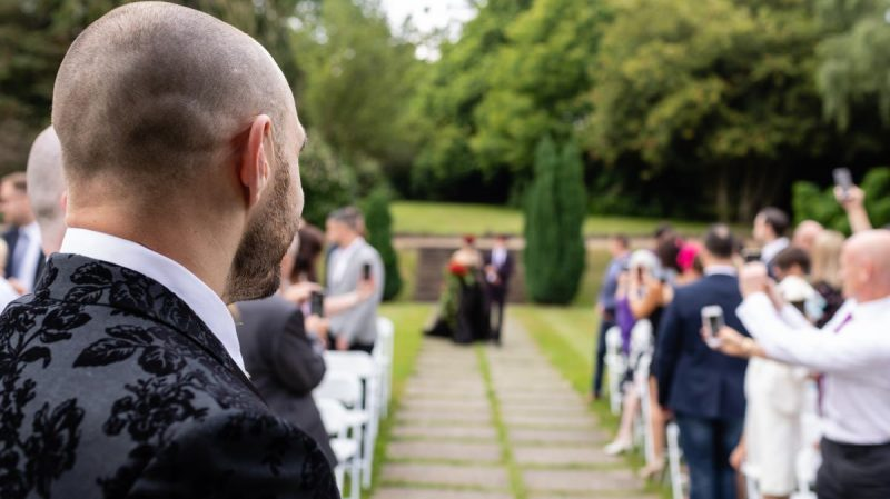 Getting Married Outdoors in a Black Wedding Dress at Rowhill Grange Kent