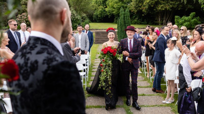 Beautiful Bride in a Black Wedding Dress - Getting Married in Kent - Graham Baker Photography