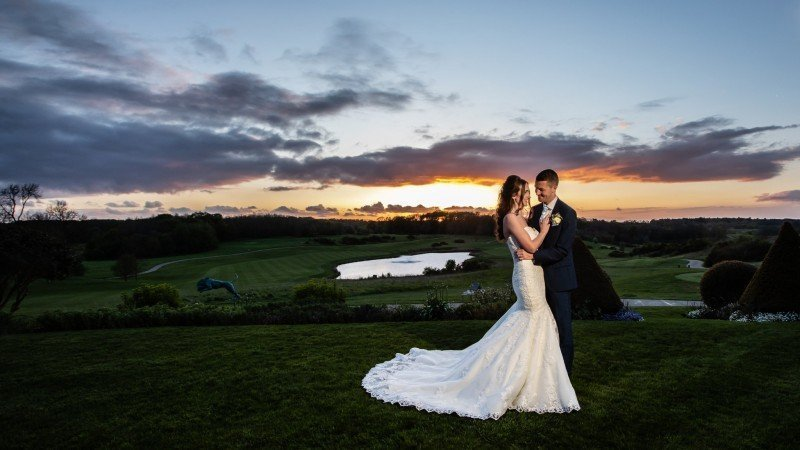 Sunset for Kent Bride and Groom on their Wedding Day