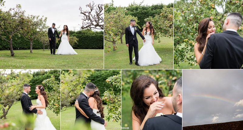 Bride and Groom in the grounds of Winters Barns