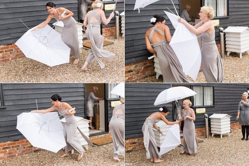 Kent Bridesmaids having fun with umbrellas!