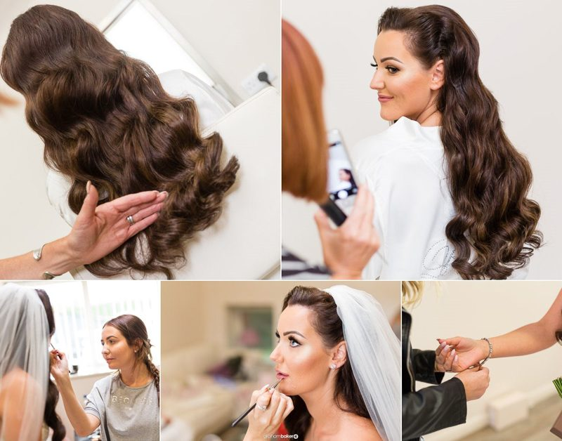 Bridal Prep Photography with Vicki Lord - hair designer & Make Up By Sian - Photographs by Graham Baker Photography