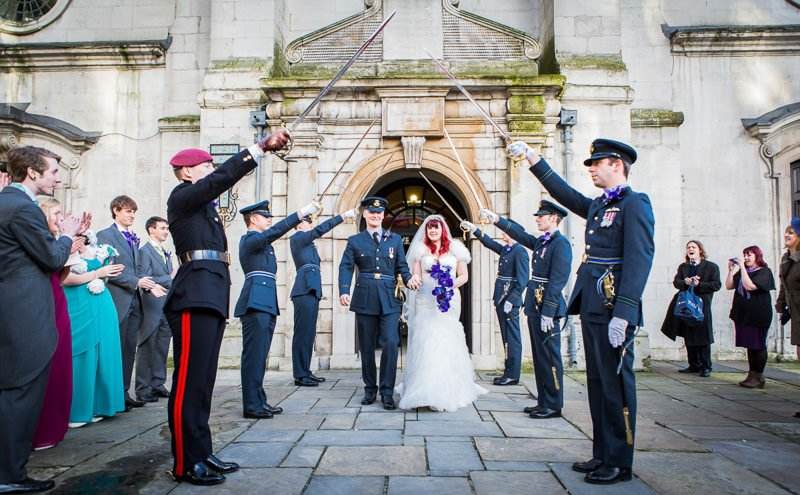 Arch of Swords Honour Guard - Military Wedding London RAF Church St Clement Danes & The RAF Club