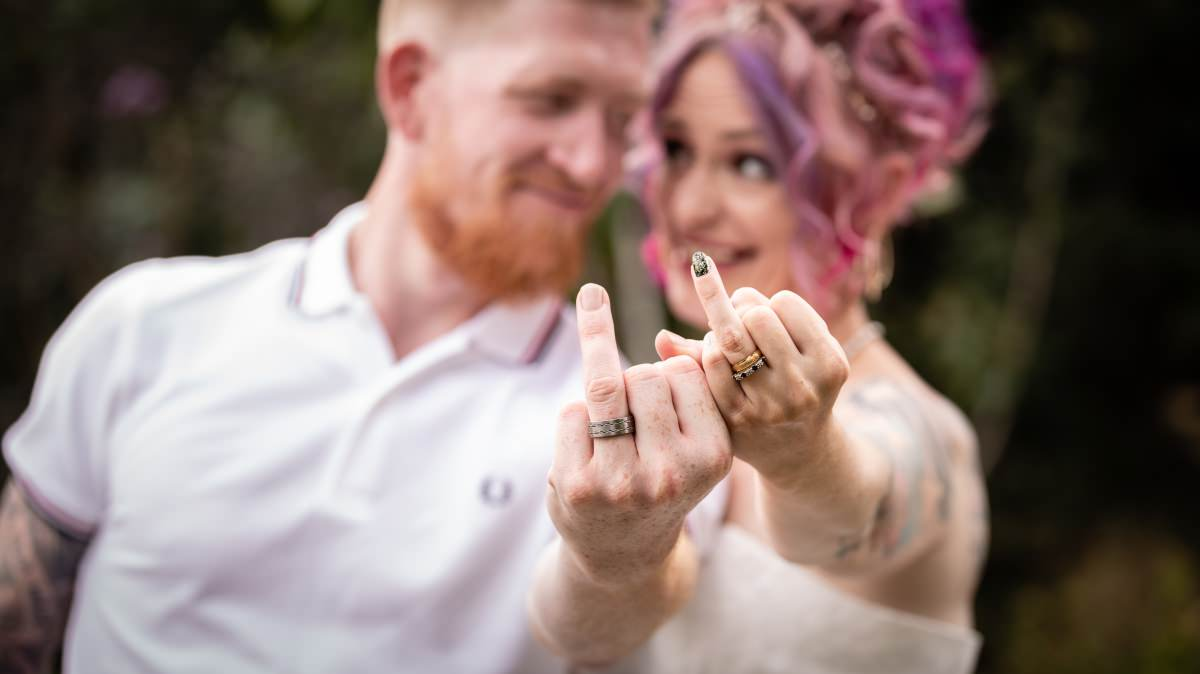 Bride & Groom Portraits - Rock n Roll Bride Alternative Wedding at Ferry House Inn Kent | Bexley Wedding Photographer