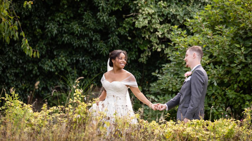 Bride and Groom Portrait Photography in the grounds of the Secret Garden Ashford