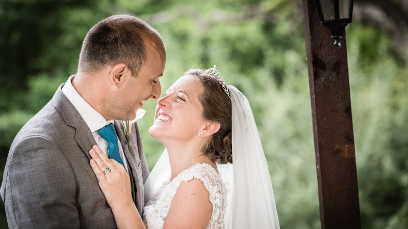 Wedding Bride and Groom Portraits at Lythe Hill Hotel and Spa Haslemere Surrey